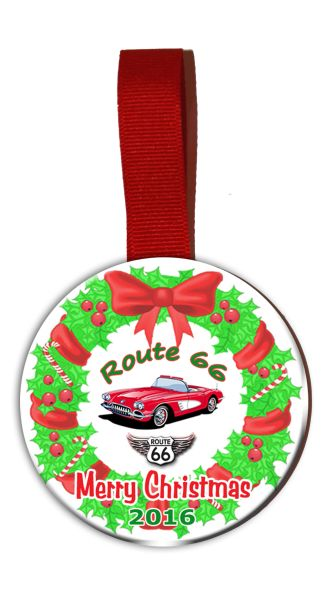 Route 66 Christmas Tree Ornament Double Sided with Corvette Graphics