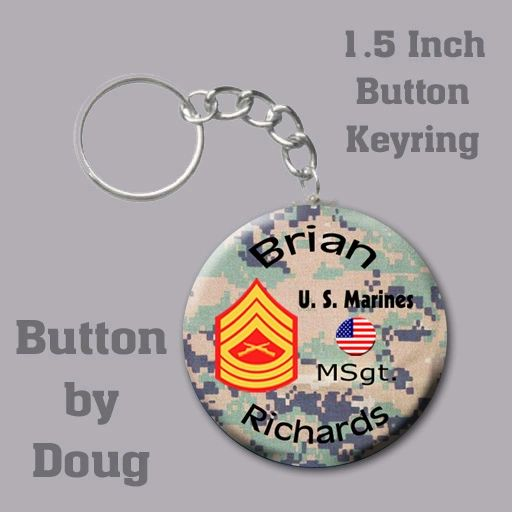 Personalized Marine Key Ring/Bag Tag 1.5 inch charm #CH527KR