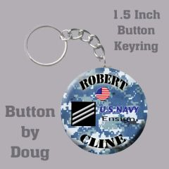 Personalized Navy Key Ring/Bag Tag 1.5 inch charm #CH556KR