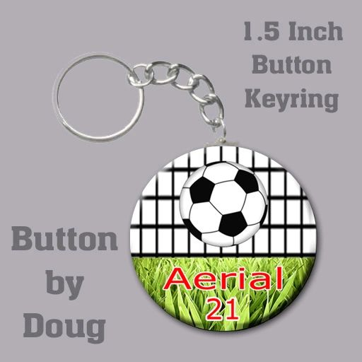 1.5 Inch Round Keyring with Personalized Soccer Graphics CH525KR