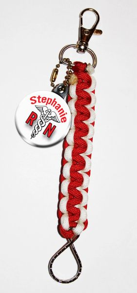 Paracord Keyring with Personalized Nurse button and a red and white paracord FOB CH121PKR