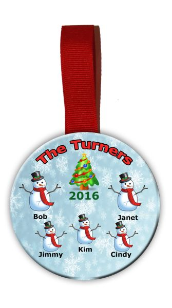 Christmas Tree Ornament Personalized with Snowman Garphics for each family member.