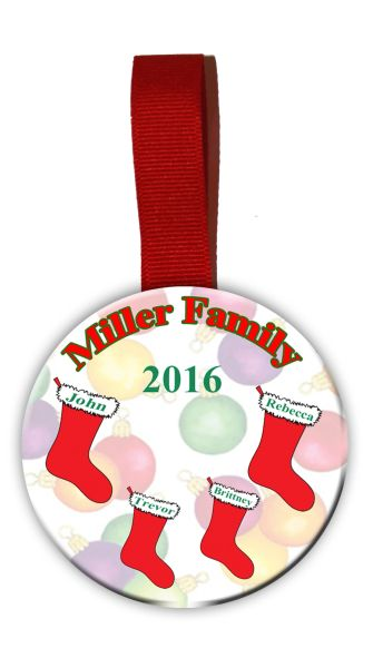 Christmas Tree Ornament Personalized with Stocking Garphics for each family member.