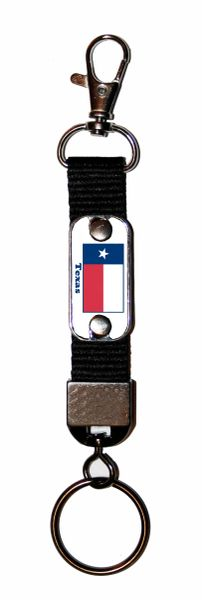 State Flag Belt Loop Key FOB Mini Dog Tag with State Flag Graphic of Choice