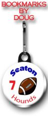 Football zipper pull, pin, or magnet personalized with name, number, team and color CH185