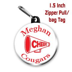 Cheer zipper pull, pin or magnet personalized with name, team name and color CH186