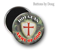Personalized inspirational army of God button with first name of choice CH136