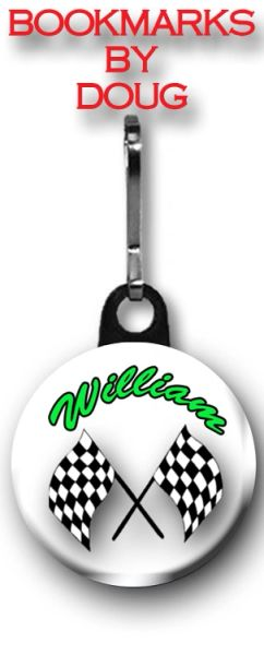 Personalized Checkered Flags Zipper Pull/Bag Tag