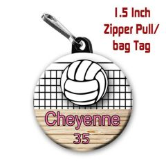 Volleyball zipper pull, pin,or magnet personalized with name with name, number, font color CH524