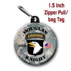 Army 101st zipper pull, pin, or magnet personalized with first and last name CH212