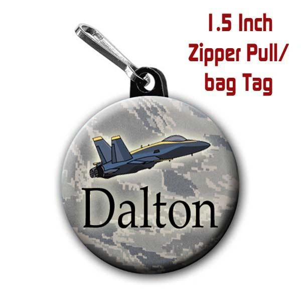 Military Jet zipper pull, pin, or magnet personalized with name of choice CH427