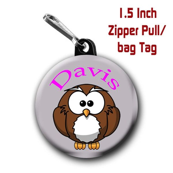Owl zipper pull, pin, or magnet personalized with name of choice CH277