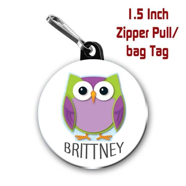 Owl zipper pull, pin, or magnet personalized with name of choice CH423
