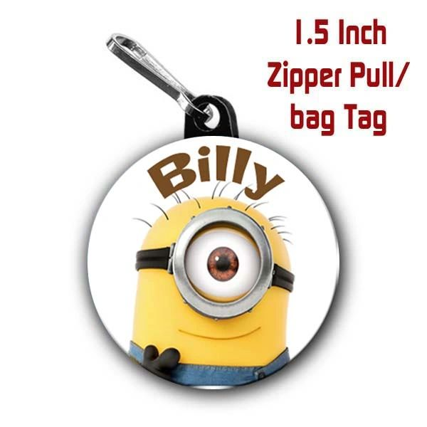 Minion zipper pull, pin, or magnet personalized with name of choice CH426