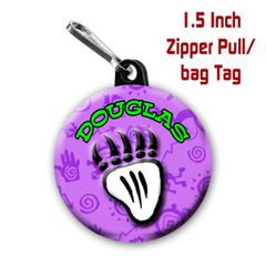 Bear paw zipper pull, pin, or magnet personalized with name of choice CH219