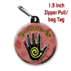 Hand zipper pull, pin, or magnet personalized with name of choice CH221