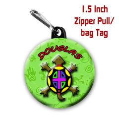Turtle zipper pull, pin, or magnet personalized with name CH223