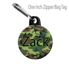 Personalized Camo Zipper Pull/Bag Tag