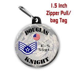 Air Force zipper pull, pin, or magnet personalized with name and rank CH505