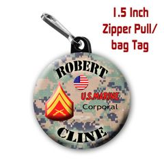 Marine zipper pull, pin, or magnet personalized with name and rank CH505MR