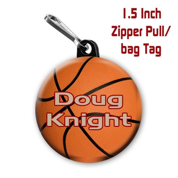 Basketball zipper pull, pin,or magnet personalized with name and color CH562