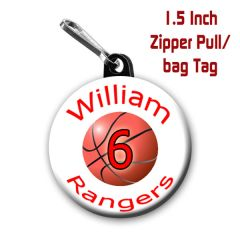 Basketball zipper pull, pin, or magnet personalied with name, number, team and color CH191