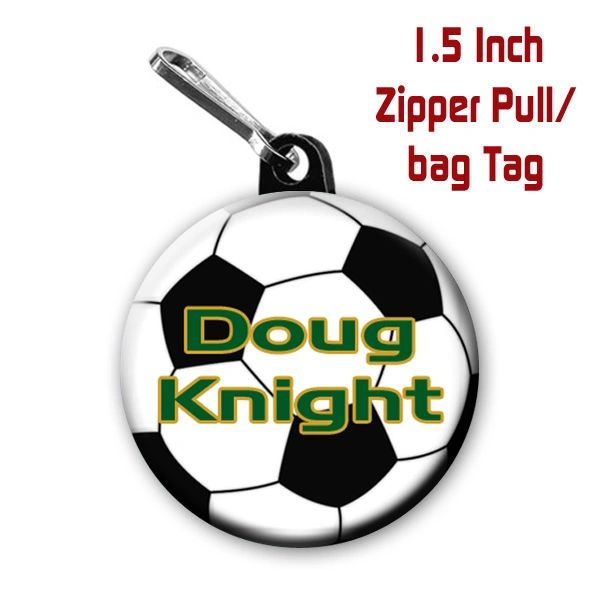Soccer zipper pull, pin, or magnet personalized with name and color CH563