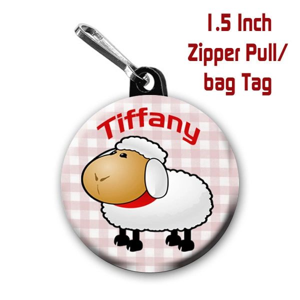 Lamb zipper pull, pin, or magnet personalized with name of choice CH566
