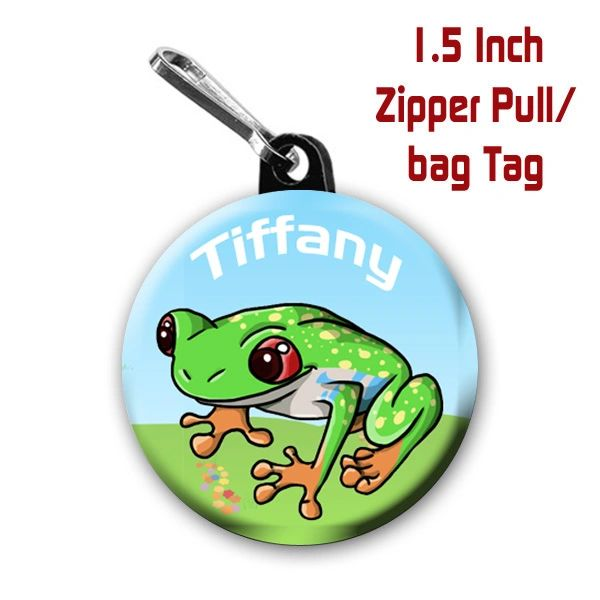 Frog zipper pull personalized with name of choice CH567