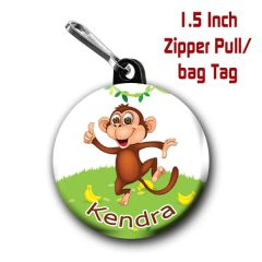Monkey zipper pull, pin, or magnet personalized with name of choice CH569