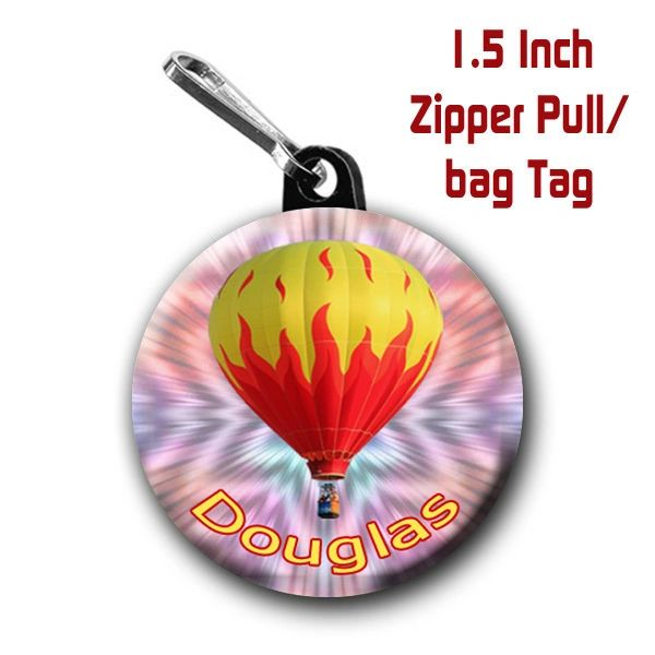 Hot air balloon zipper pull personalized with name of choice CH548