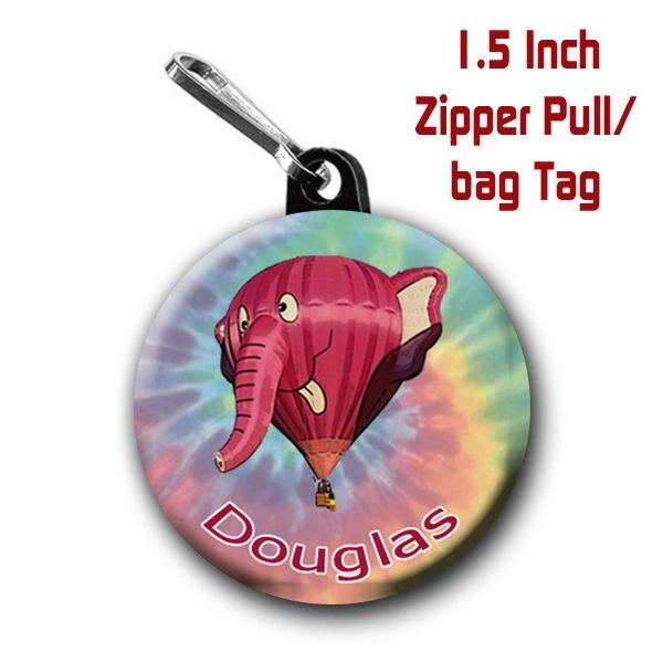 Hot air balloon zipper pull, pin, or magnet with elephant CH546