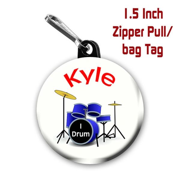 Personalized I Drum button on your choice of items with name CH430