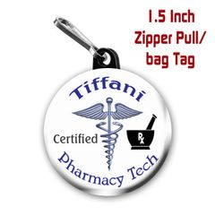 Personalized Pharmacy Tech button on choice of items with name CH336