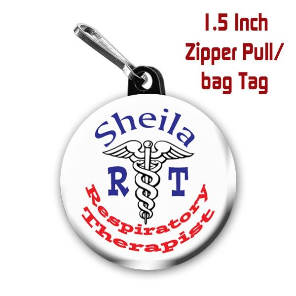 Personalized Respiratory Therapist button on choice of items with name CH365