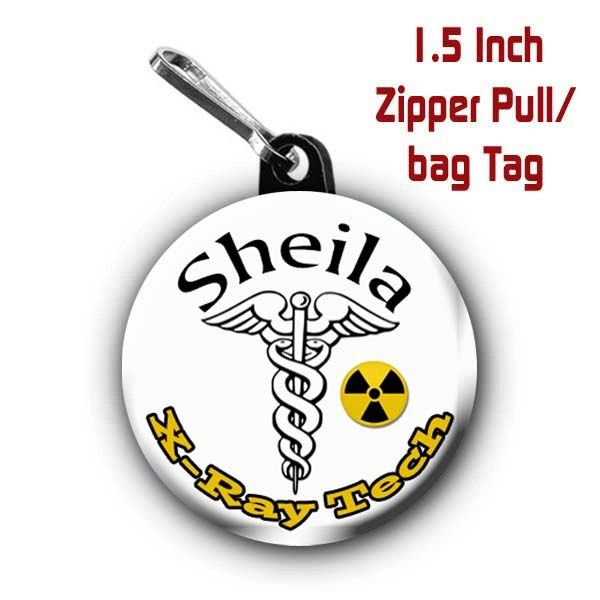 Personalized X-Ray Tech button on choice of items with name CH366