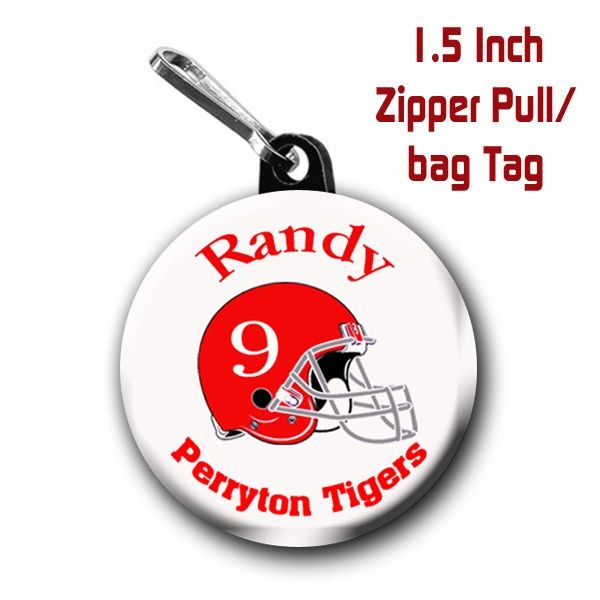 Football zipper pull, pin, or magnet personalized with name,team and color CH471