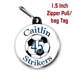Soccer zipper pull, pin,or magnet personalized with name, number, team, and color. CH193