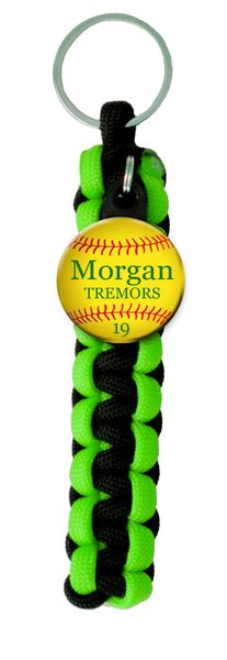 Paracord Key Ring with Personalized Softball Charm. You choose Name, Team Name, Font Color and Paracord Colors