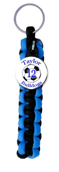 Paracord Key Ring with Personalized Soccer Charm. You choose Name, Team Name, Font Color and Paracord Colors
