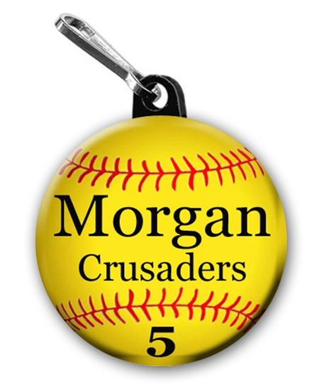 Two Softball Zipper Pulls personalied with name, number, team and Font Color CH191