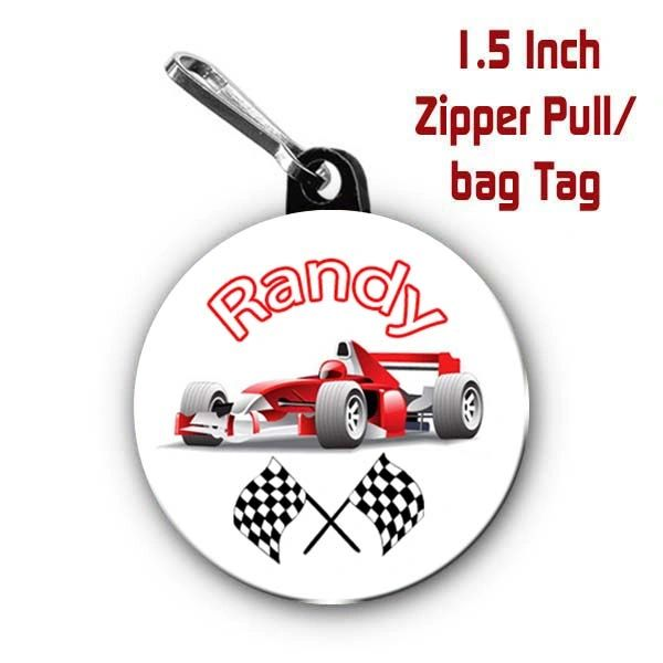 F1 Race Car zipper pull, pin, or magnet personalized with name of choice CH595