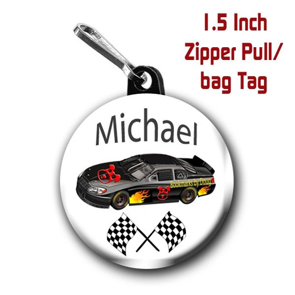 NASCAR Race Car zipper pull, pin, or magnet personalized with name of choice CH446