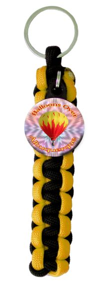 Paracord Key Ring with Personalized Hot Air Balloon Charm. You choose City name and Paracord Colors