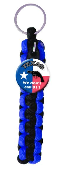 Paracord keyring with We Don't Call 9-1-1 Charm and choice of paracord colors