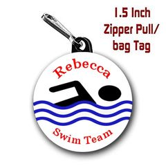 Swimming zipper pull, pin,or magnet personalized with name with name, font color CH524