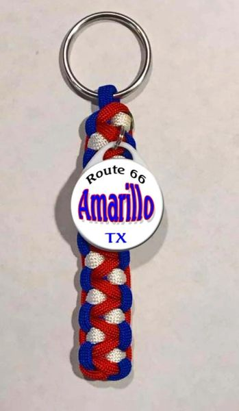 Paracord keyring with city name and state flag colors