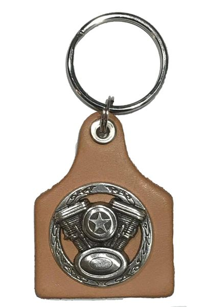Leather Key Ring with a Motorcycle V-Twin Concho