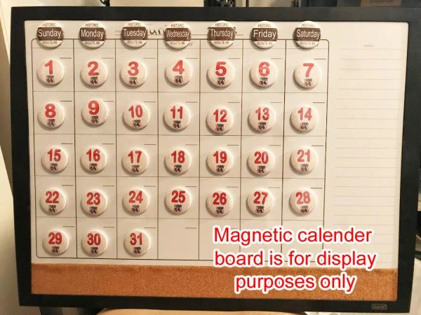 Route 66 themed perpetual calender magnets