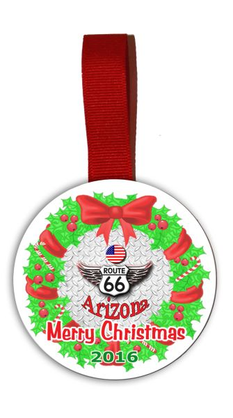 Route 66 Christmas Tree Ornament Double Sided with RT.66 Shield Graphics
